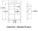 Clamshell Standard 6pc Dimentions.